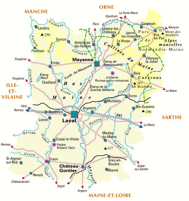 carte de la mayenne détaillée Carte du département n° 53 ( Mayenne )