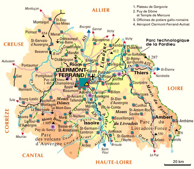 Carte du département n° 63 ( Puy de Dome )