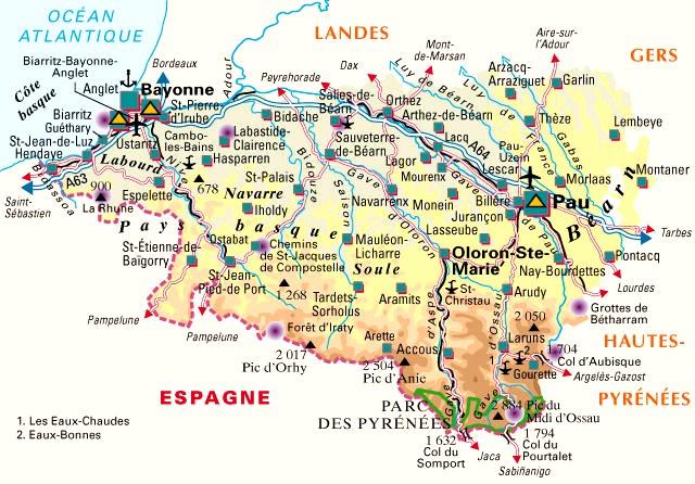 Carte du département n° 64 ( Pyrénées Atlantiques )